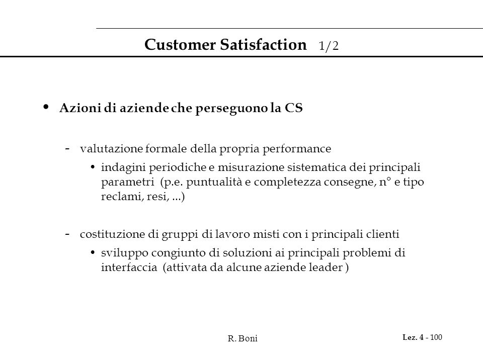 Customer Satisfaction 1/2