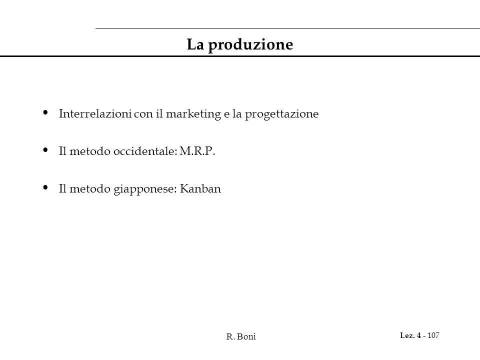 La produzione Interrelazioni con il marketing e la progettazione