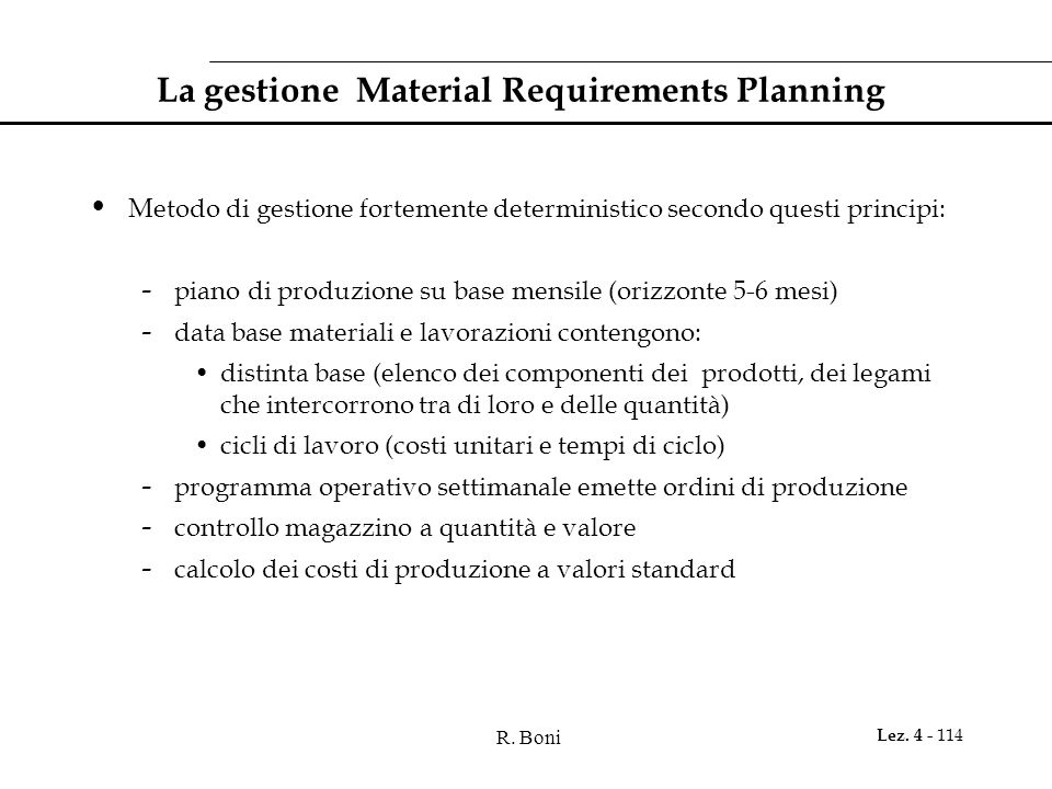 La gestione Material Requirements Planning