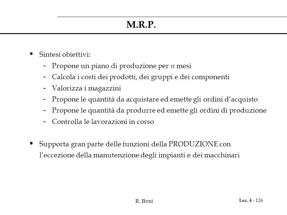 M.R.P. Sintesi obiettivi: Propone un piano di produzione per n mesi