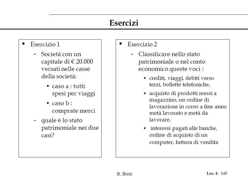 Esercizi Esercizio 1. Società con un capitale di € 20.000 versati nelle casse della società: caso a : tutti spesi per viaggi.