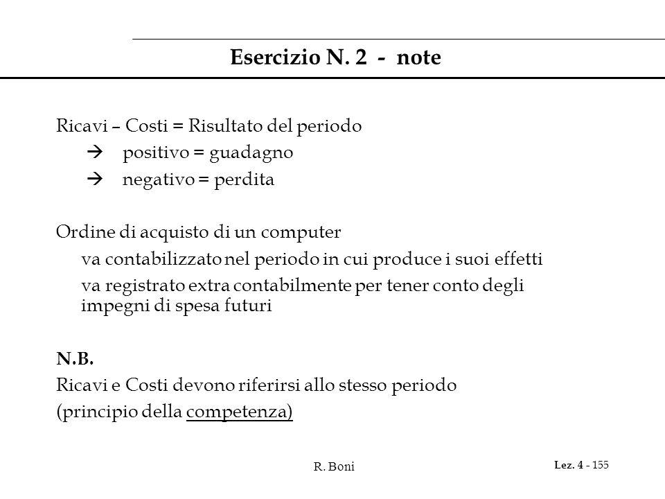 Esercizio N. 2 - note Ricavi – Costi = Risultato del periodo