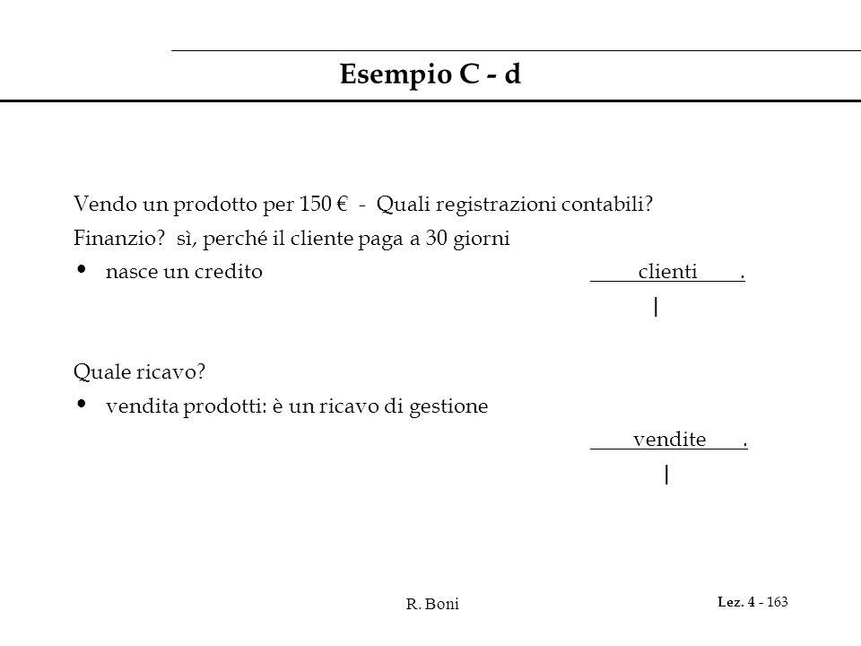 Esempio C - d Vendo un prodotto per 150 € - Quali registrazioni contabili Finanzio sì, perché il cliente paga a 30 giorni.