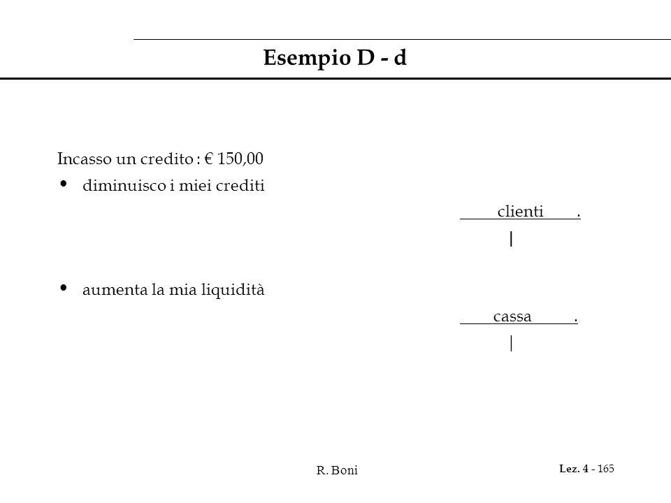 Esempio D - d Incasso un credito : € 150,00 diminuisco i miei crediti