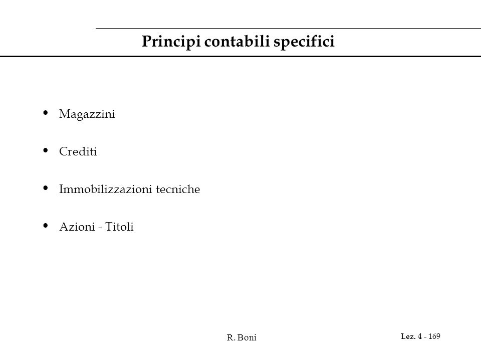 Principi contabili specifici