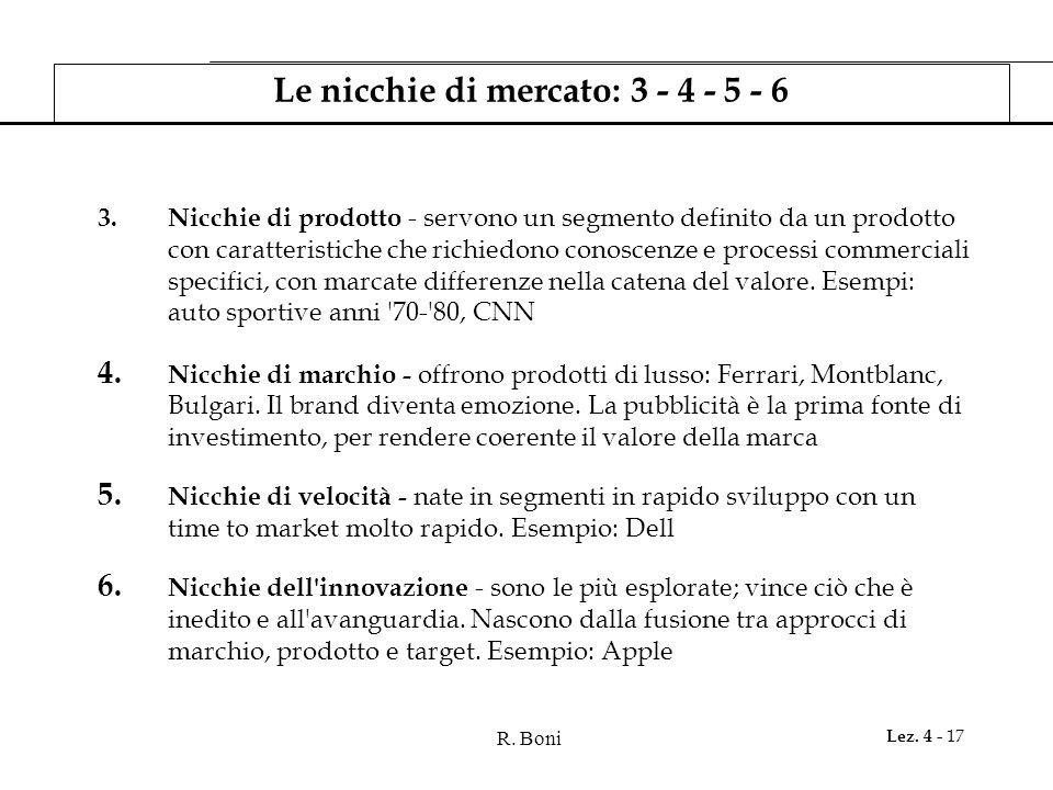 Le nicchie di mercato: 3 - 4 - 5 - 6