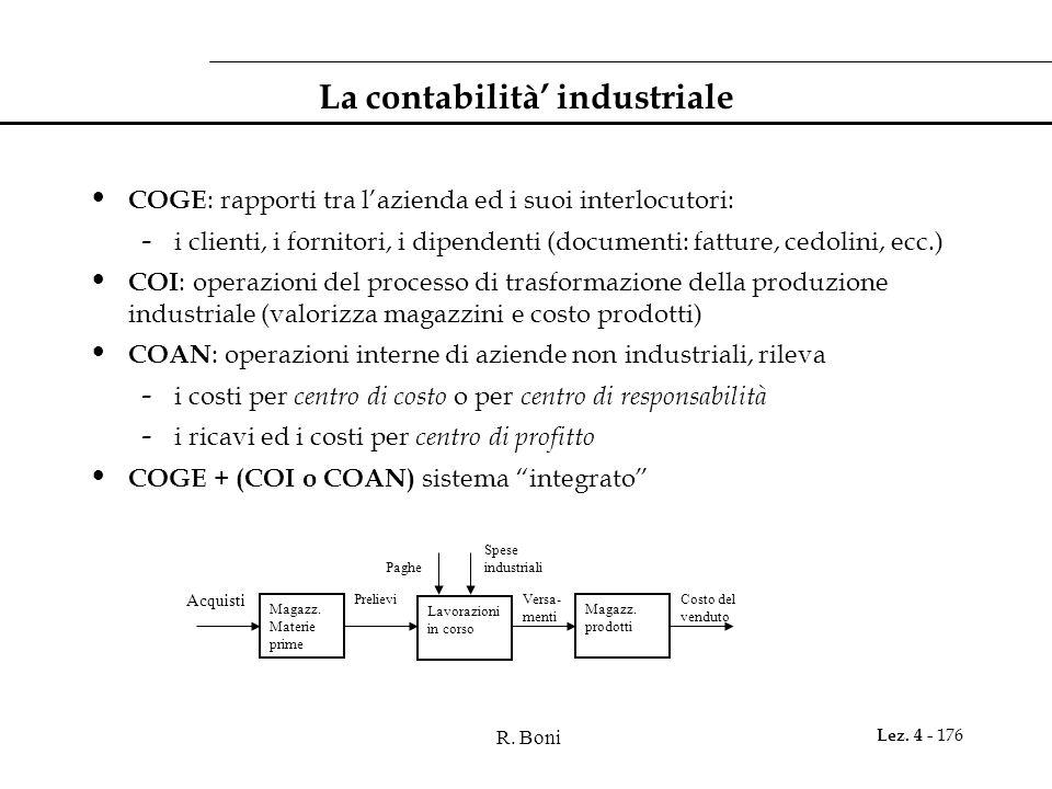 La contabilità' industriale