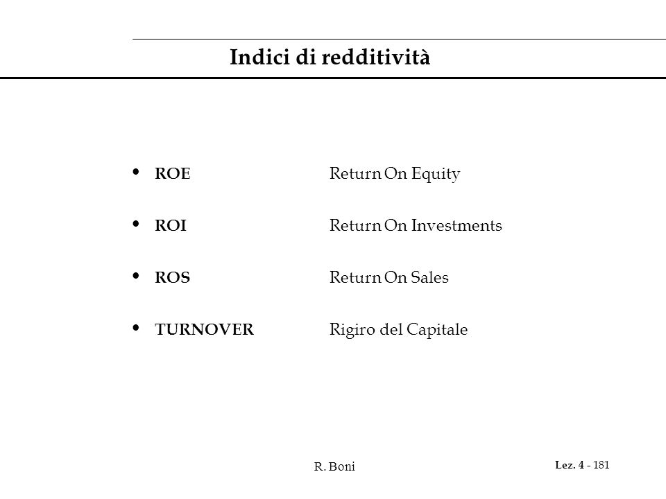 Indici di redditività ROE Return On Equity ROI Return On Investments