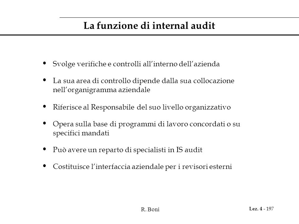 La funzione di internal audit