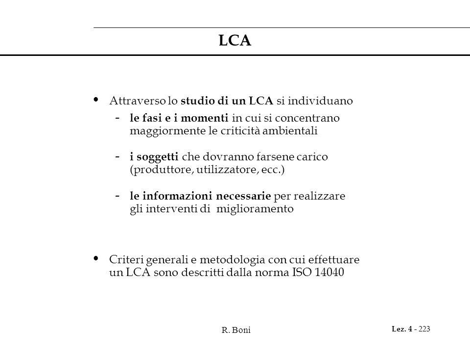 LCA Attraverso lo studio di un LCA si individuano