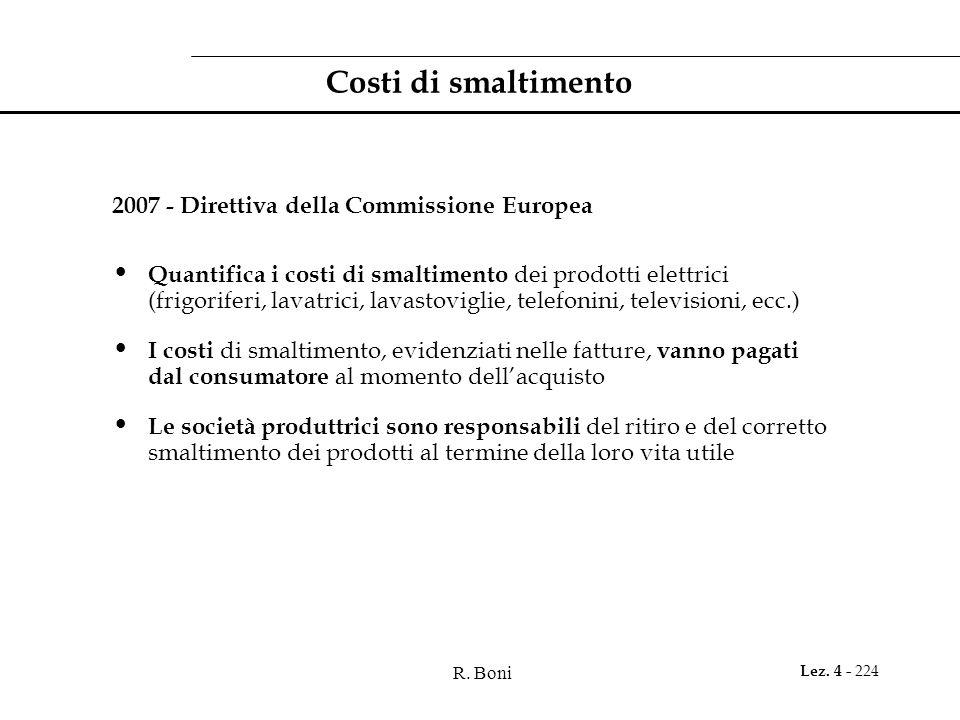 Costi di smaltimento 2007 - Direttiva della Commissione Europea