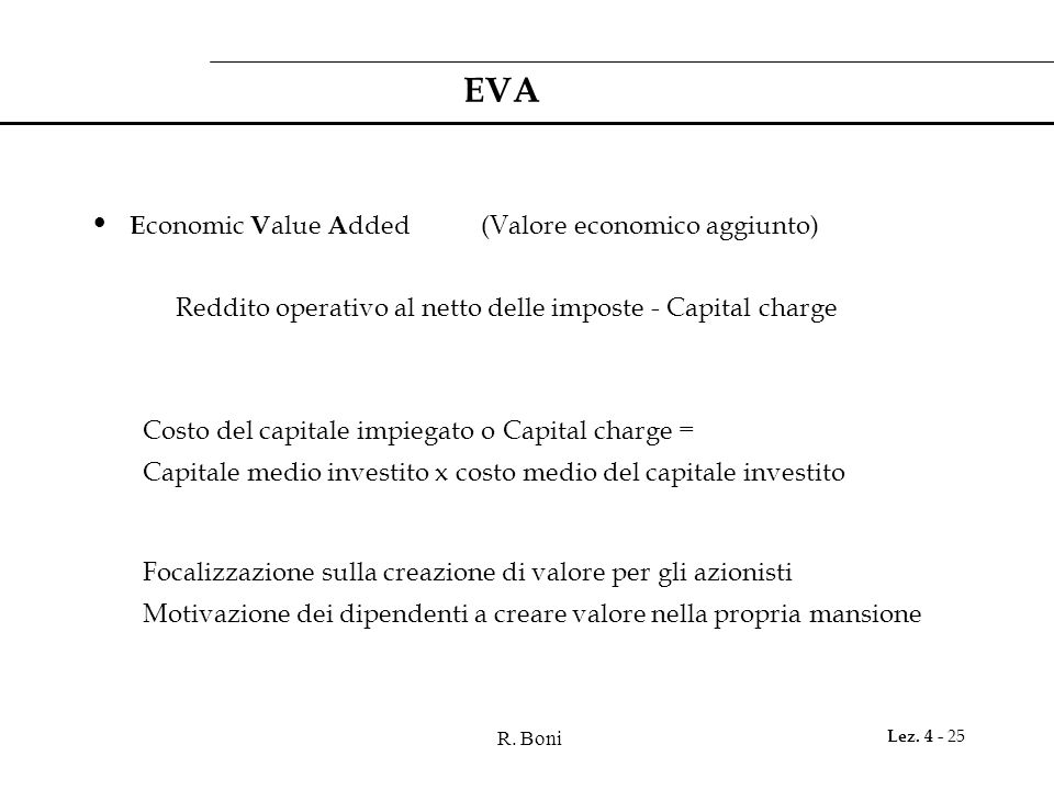 EVA Economic Value Added (Valore economico aggiunto)