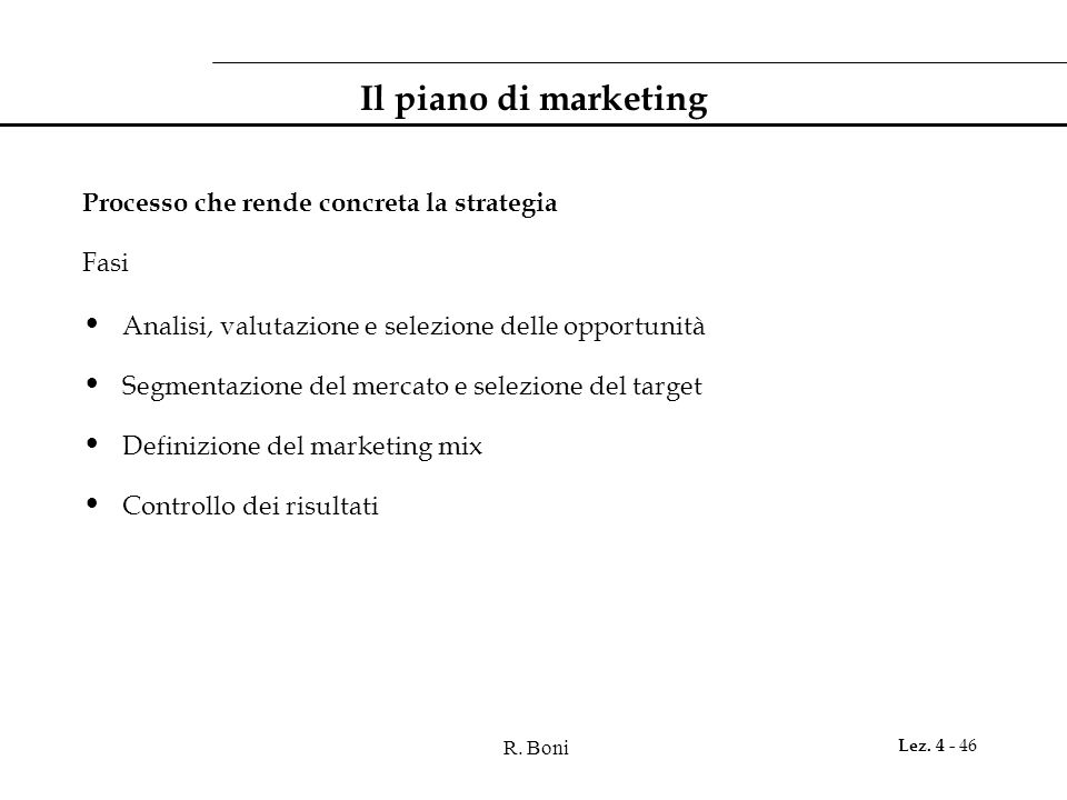 Il piano di marketing Processo che rende concreta la strategia Fasi