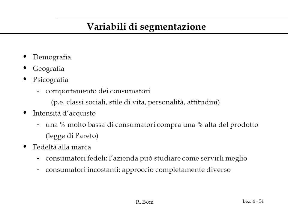 Variabili di segmentazione