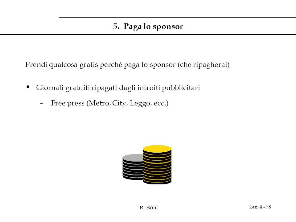 5. Paga lo sponsor Prendi qualcosa gratis perché paga lo sponsor (che ripagherai) Giornali gratuiti ripagati dagli introiti pubblicitari.