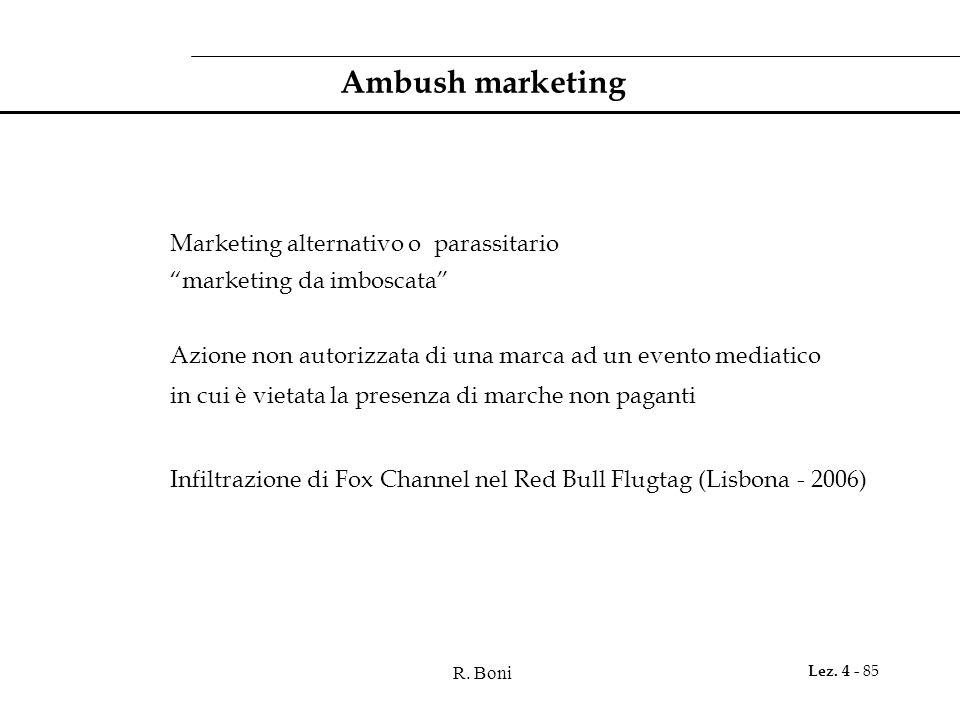 Ambush marketing Marketing alternativo o parassitario