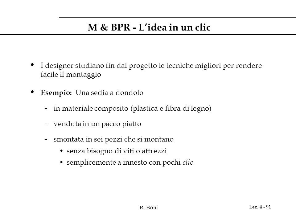 M & BPR - L'idea in un clic