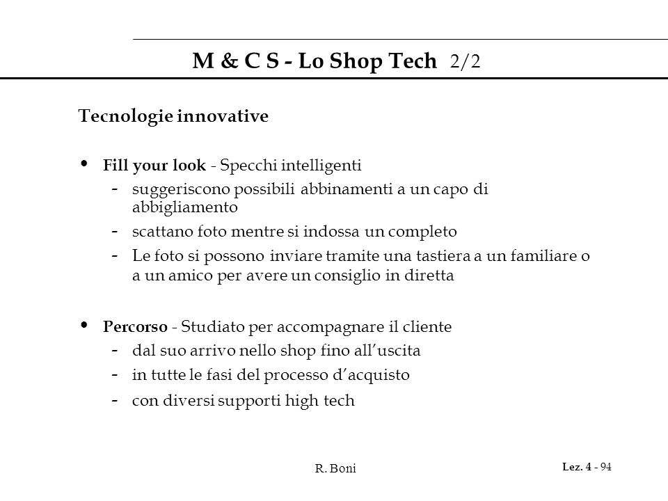M & C S - Lo Shop Tech 2/2 Tecnologie innovative