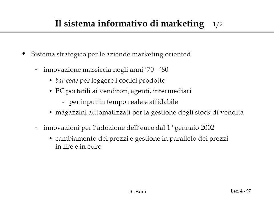 Il sistema informativo di marketing 1/2