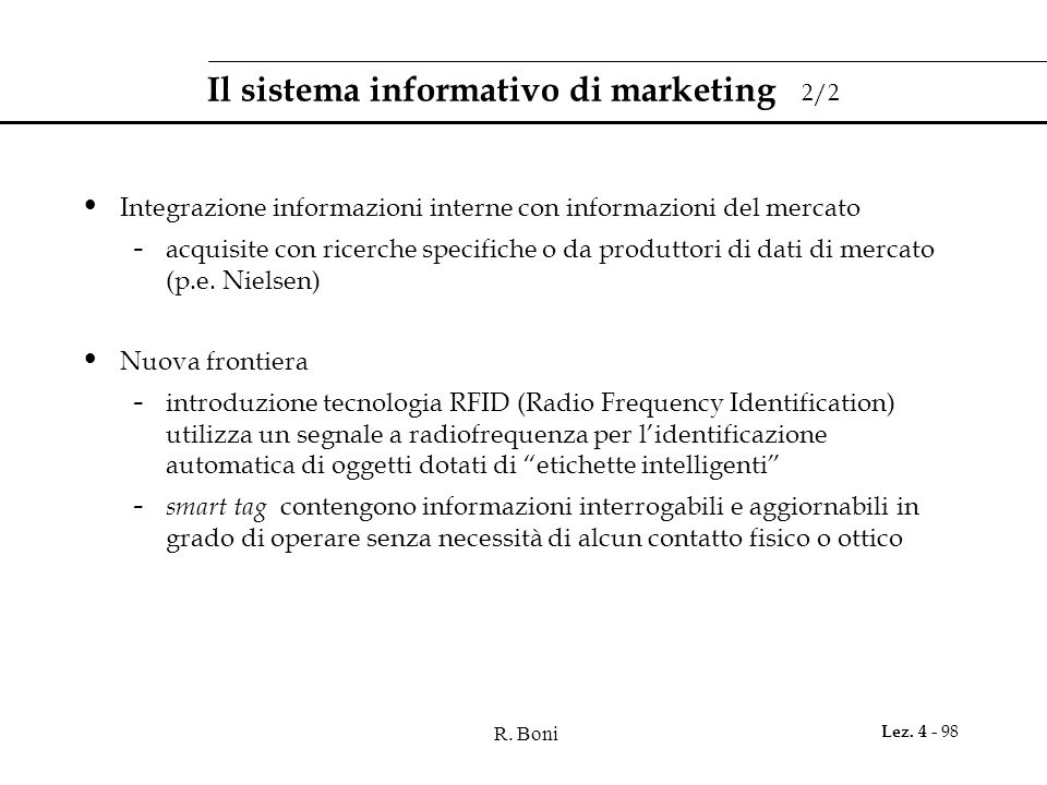 Il sistema informativo di marketing 2/2