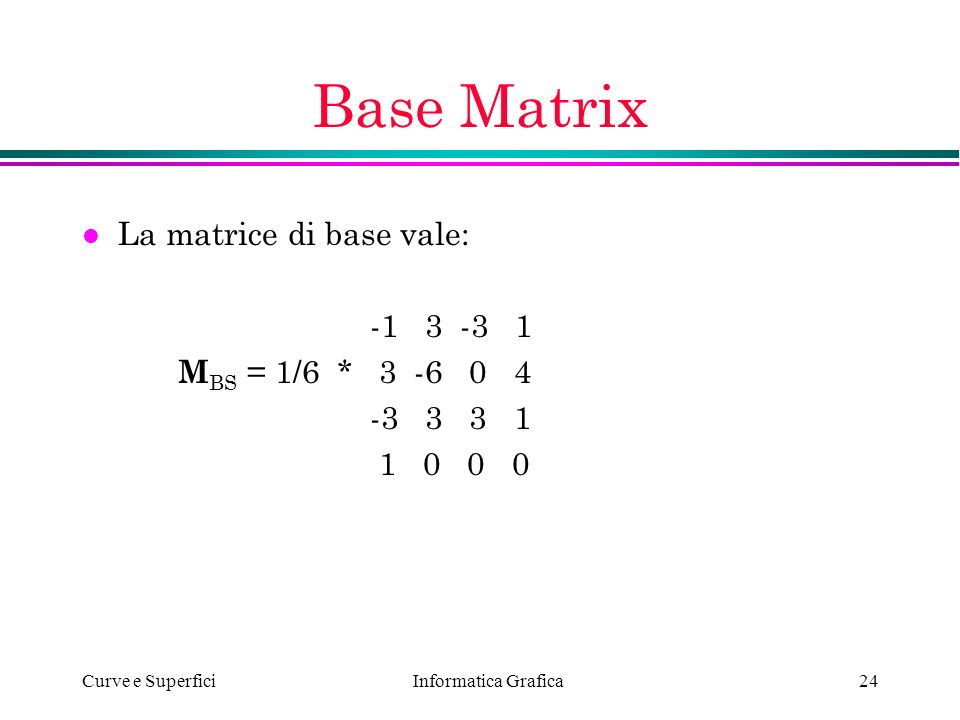 Base Matrix La matrice di base vale: -1 3 -3 1 MBS = 1/6 * 3 -6 0 4
