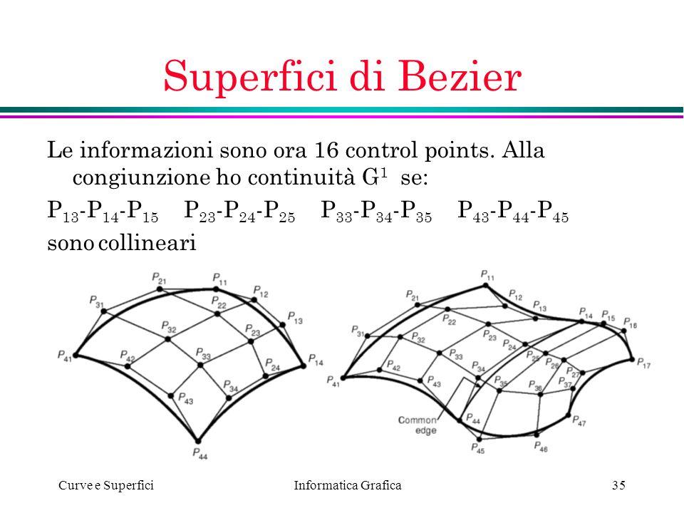 Superfici di Bezier Le informazioni sono ora 16 control points. Alla congiunzione ho continuità G1 se: