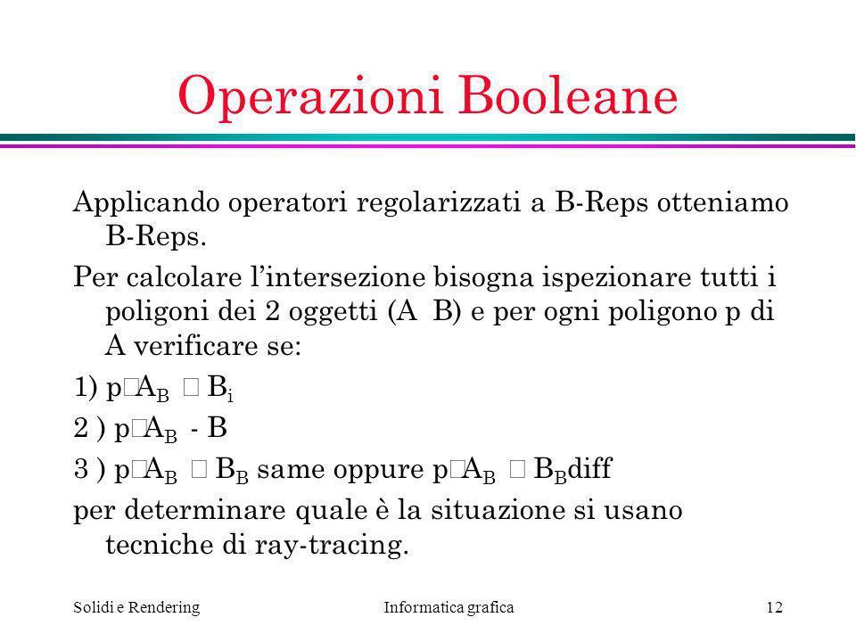 Operazioni Booleane Applicando operatori regolarizzati a B-Reps otteniamo B-Reps.