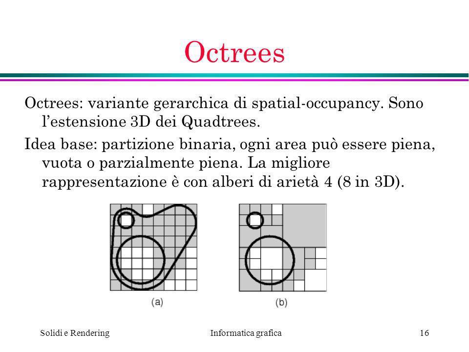 Octrees Octrees: variante gerarchica di spatial-occupancy. Sono l'estensione 3D dei Quadtrees.