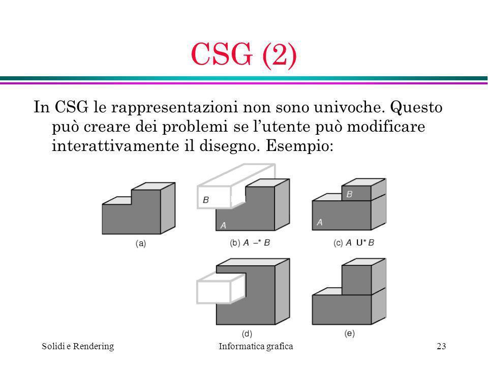 CSG (2) In CSG le rappresentazioni non sono univoche. Questo può creare dei problemi se l'utente può modificare interattivamente il disegno. Esempio: