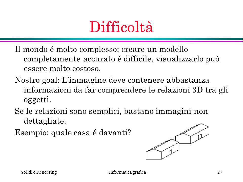 Difficoltà Il mondo é molto complesso: creare un modello completamente accurato é difficile, visualizzarlo può essere molto costoso.