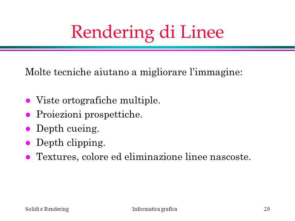 Rendering di Linee Molte tecniche aiutano a migliorare l'immagine: