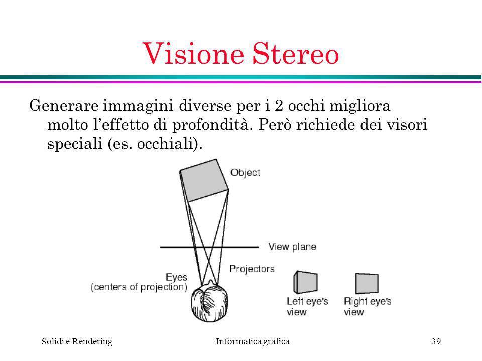 Visione Stereo Generare immagini diverse per i 2 occhi migliora molto l'effetto di profondità. Però richiede dei visori speciali (es. occhiali).