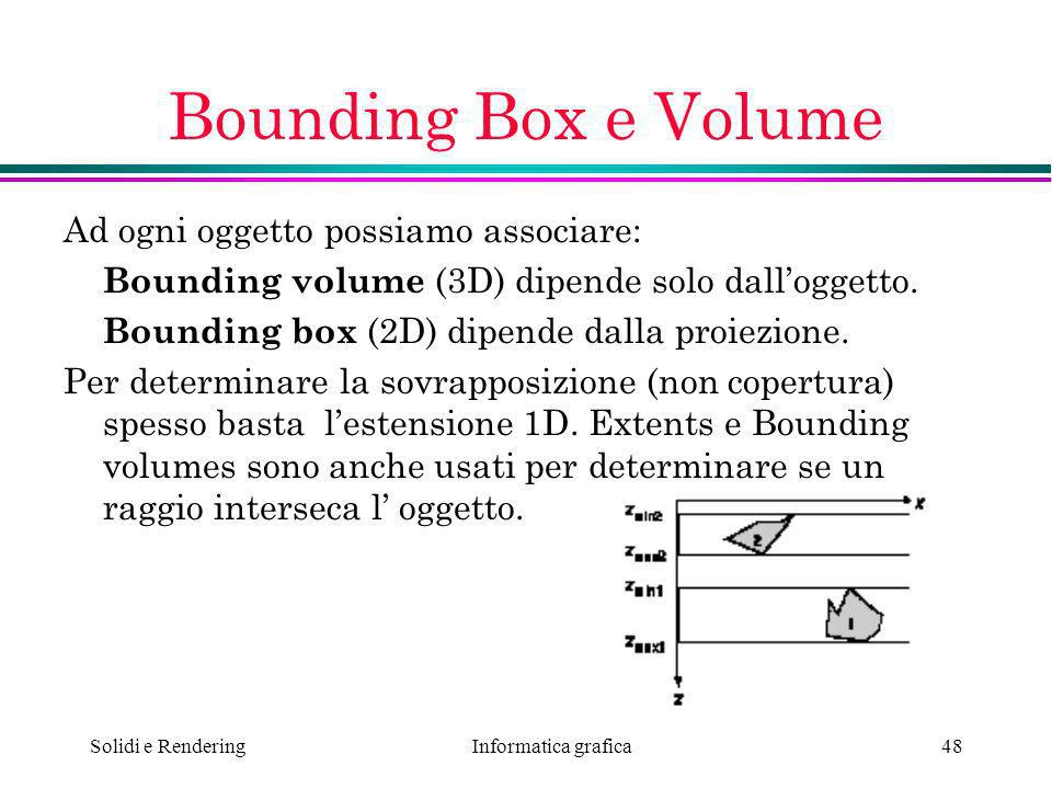 Bounding Box e Volume Ad ogni oggetto possiamo associare: