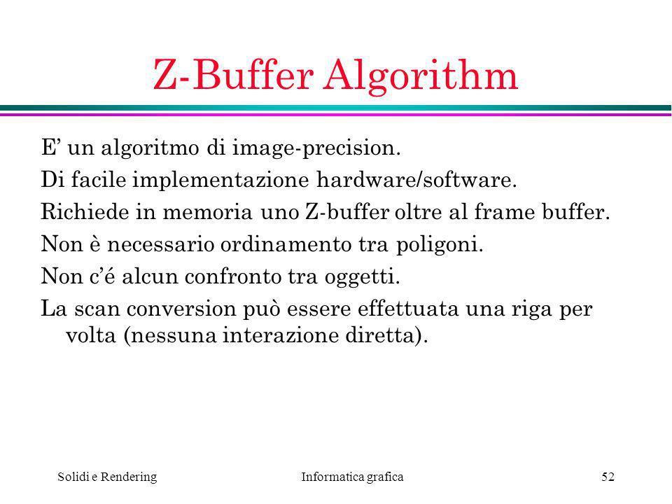 Z-Buffer Algorithm E' un algoritmo di image-precision.