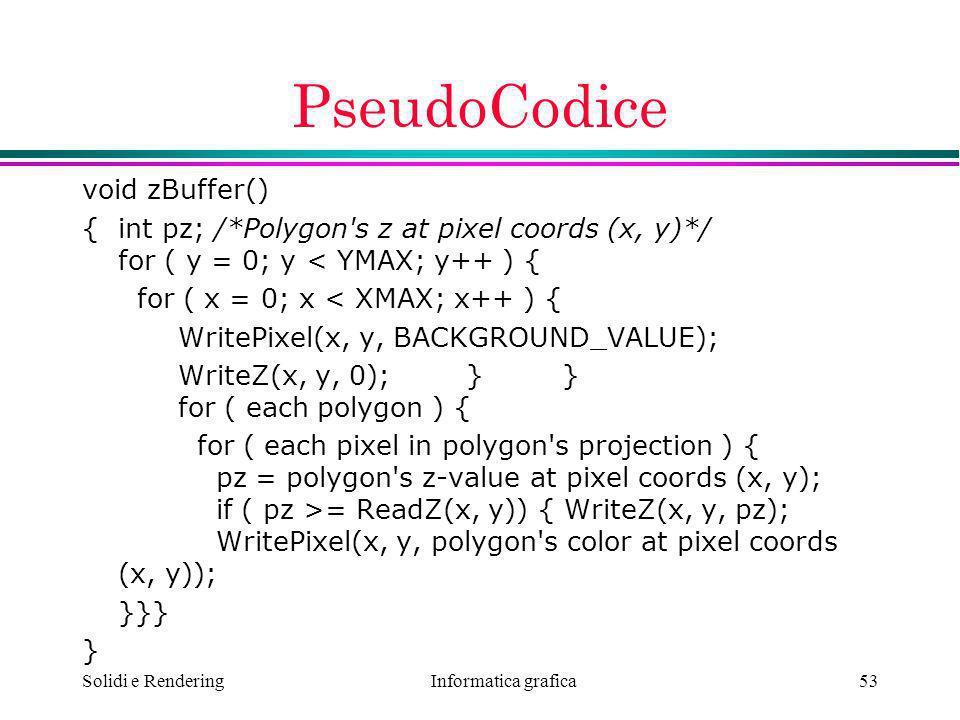 PseudoCodice void zBuffer()