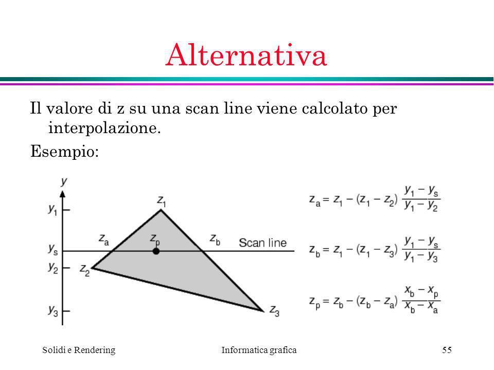 Alternativa Il valore di z su una scan line viene calcolato per interpolazione.