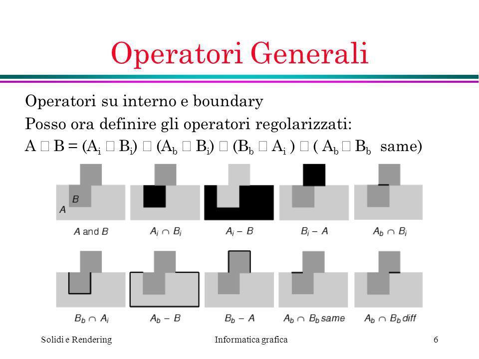 Operatori Generali Operatori su interno e boundary