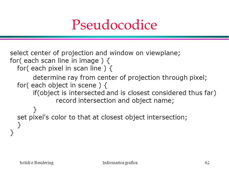 Pseudocodice select center of projection and window on viewplane; for( each scan line in image ) { for( each pixel in scan line ) {