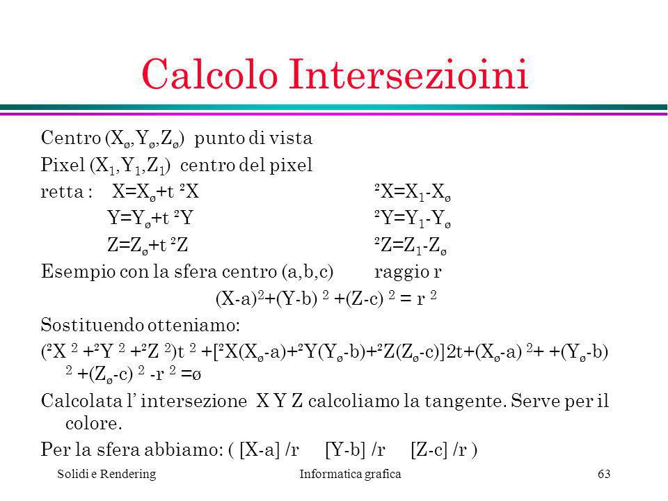 Calcolo Intersezioini