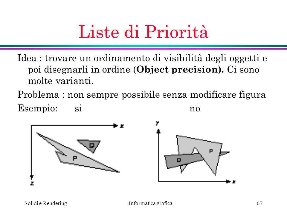 Liste di Priorità Idea : trovare un ordinamento di visibilità degli oggetti e poi disegnarli in ordine (Object precision). Ci sono molte varianti.