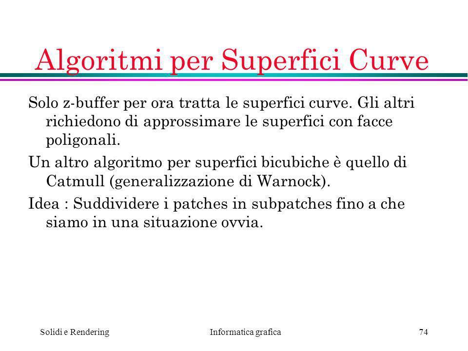 Algoritmi per Superfici Curve