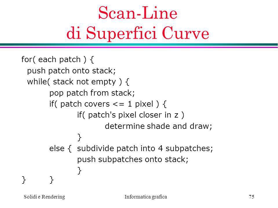 Scan-Line di Superfici Curve