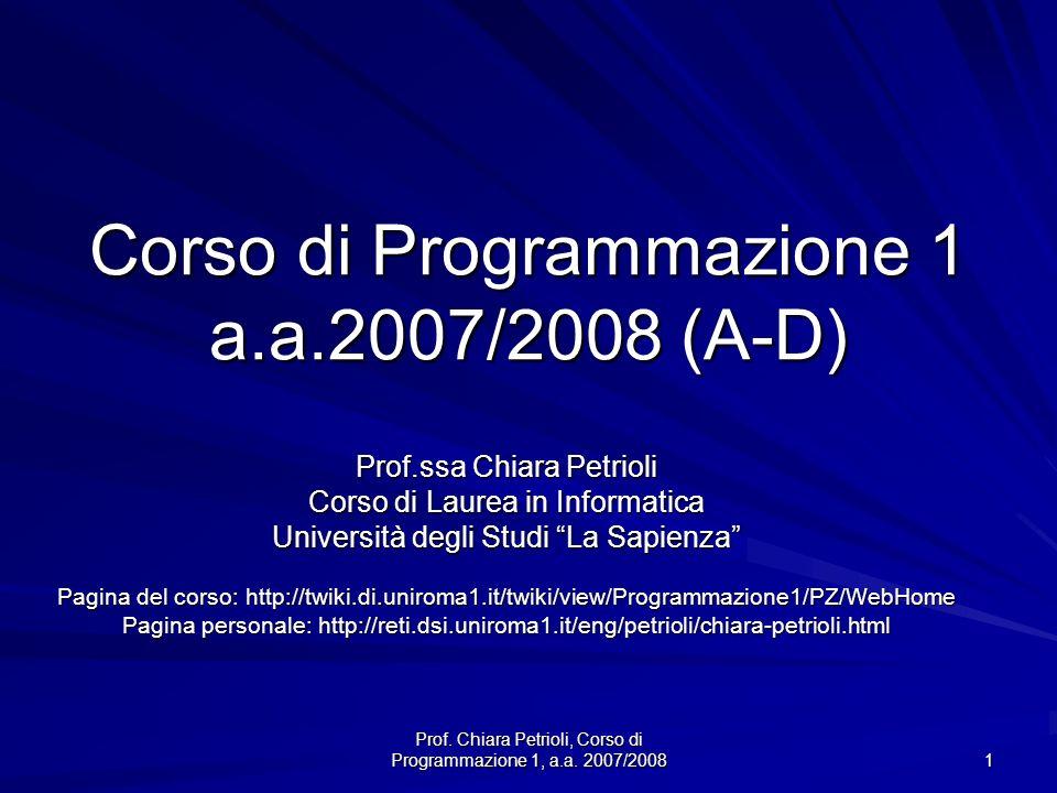 Corso di Programmazione 1 a.a.2007/2008 (A-D)