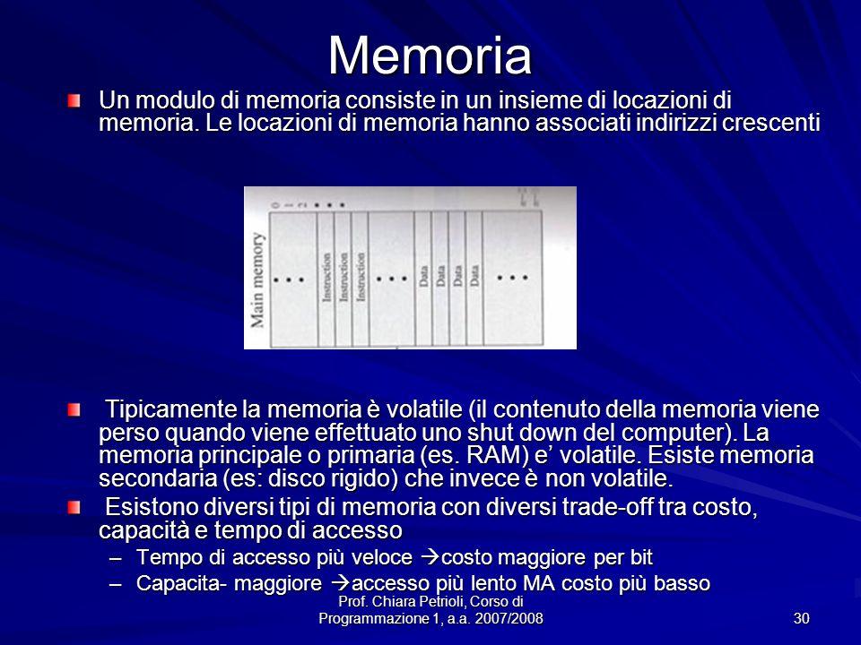 Prof. Chiara Petrioli, Corso di Programmazione 1, a.a. 2007/2008