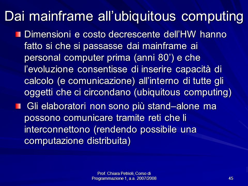 Dai mainframe all'ubiquitous computing