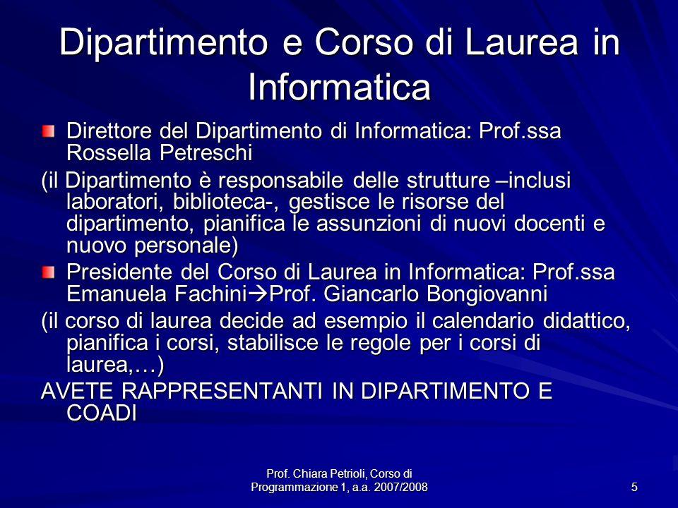 Dipartimento e Corso di Laurea in Informatica