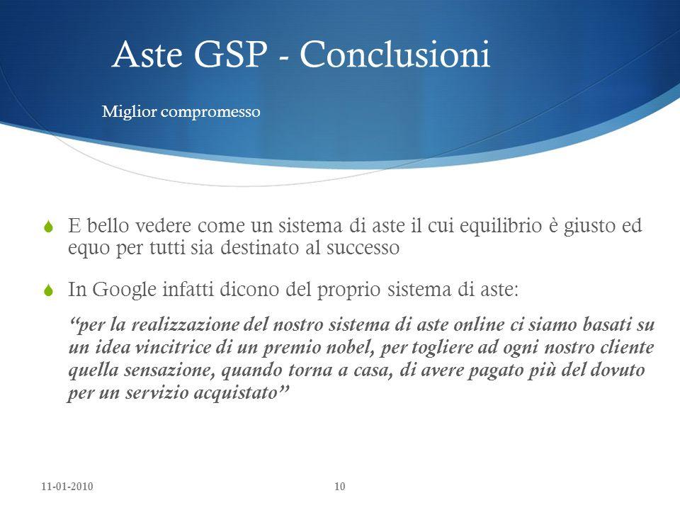 Aste GSP - ConclusioniMiglior compromesso.