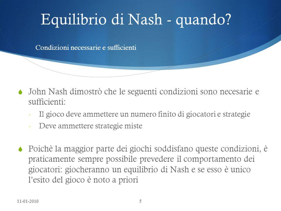 Equilibrio di Nash - quando