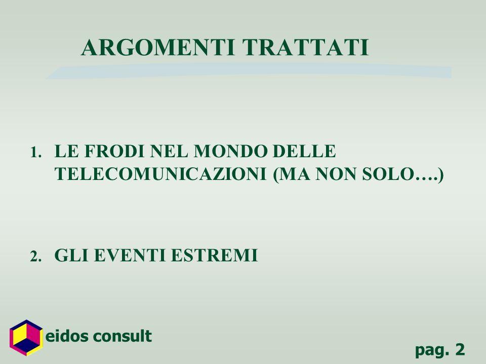 ARGOMENTI TRATTATI LE FRODI NEL MONDO DELLE TELECOMUNICAZIONI (MA NON SOLO….) GLI EVENTI ESTREMI
