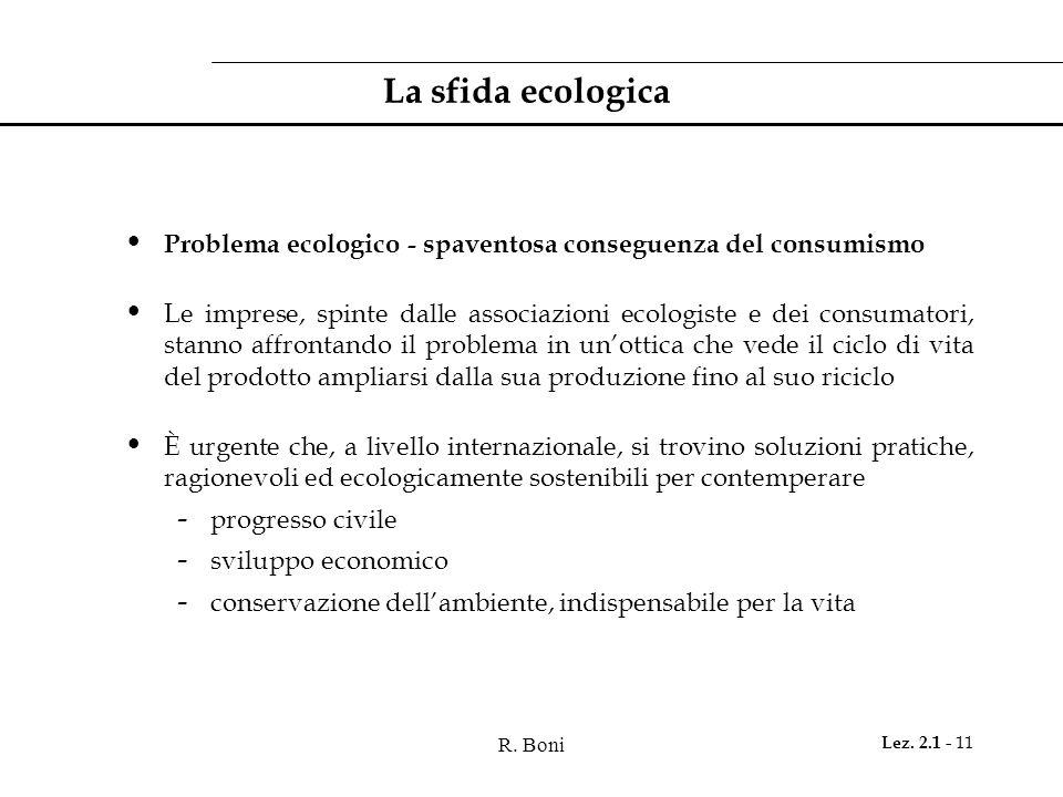 La sfida ecologica Problema ecologico - spaventosa conseguenza del consumismo.